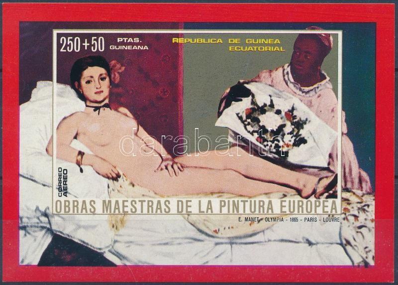 Nuda painting: Manet imperforated block, Aktfestmény: Manet vágott blokk