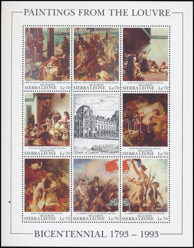 200th anniversary of Louvre, Paintings mini sheet, 200 éves a Louvre; Festmény kisív