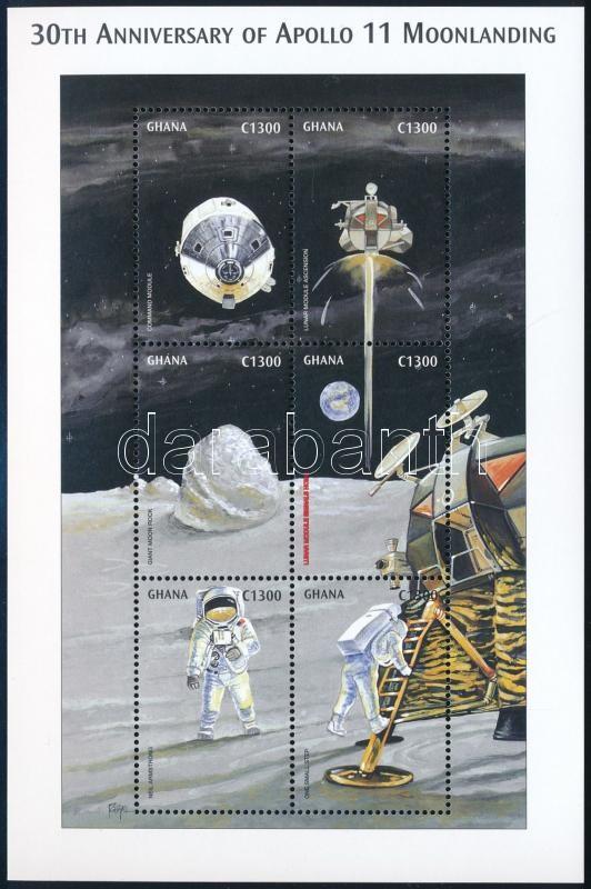30th anniversary of First man on the Moon minisheet, 30 éve járt az első ember a Holdon kisív