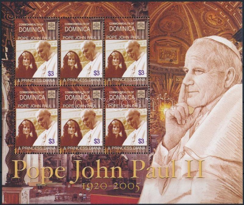 Princess Diana and Pope John Paul II. mini sheet, Diana hercegnő és II. János Pál pápa kisív
