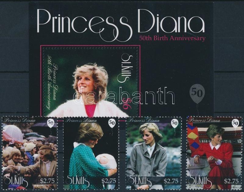 Princess Diana set + block, Diana hercegnő születésének 50. évfordulója sor + blokk