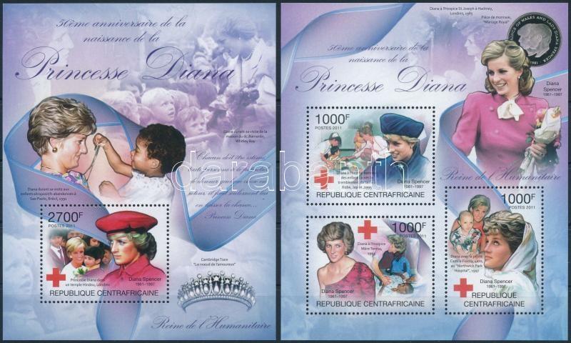 Princess Diana's birth anniversary set + block, Diana hercegnő születésének 50. évfordulója kisív + blokk