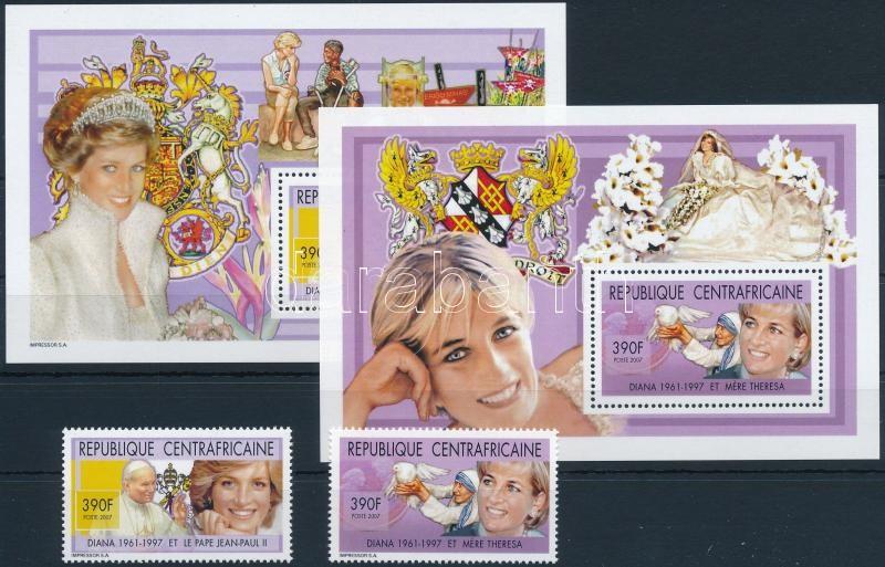 Princess Diana's death anniversary set + block, Diana hercegnő halálának 10. évfordulója sor + blokk