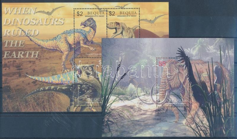 Prehistoric Animals mini sheet + block, Ősállatok kisív + blokk