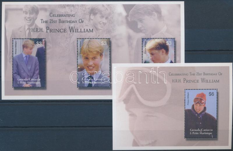 Prince William mini sheet + block, Vilmos herceg 21 éves kisív + blokk