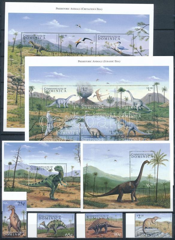 Prehistoric Animals set + mini sheet set + blockset, Ősállatok sor + kisívsor + blokksor