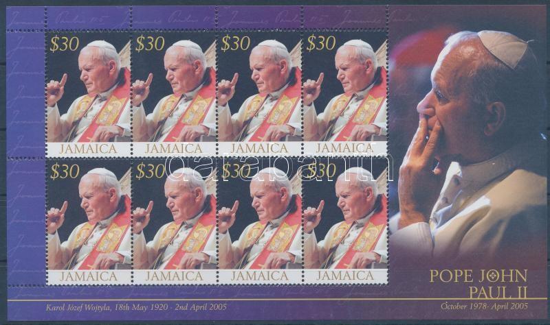 Pope John Paul II. mini sheet, II. János Pál pápa emlékére kisív