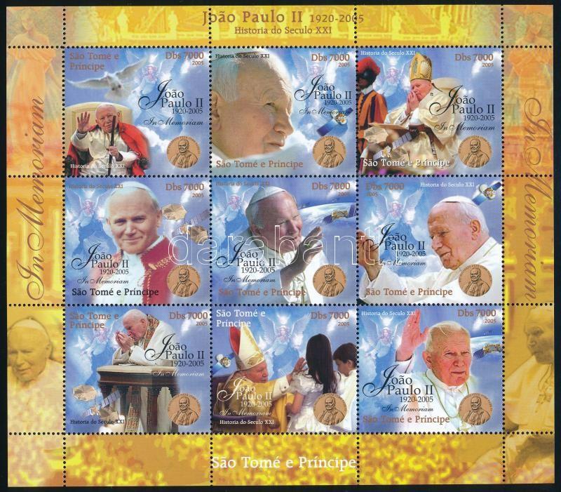 II. János Pál pápa emlékére 9 értékes kisív, In memorian Pope John Paul II. mini sheet with 9 values