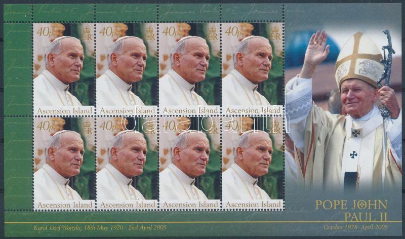Pope John Paul II memorial minisheet, II. János Pál pápa emlékére kisív