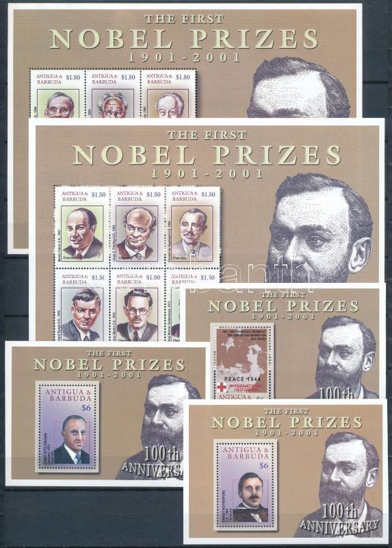 Nobel Prize winners 2 minisheet + 3 block, Nobel-díjasok 2 kisív + 3 blokk