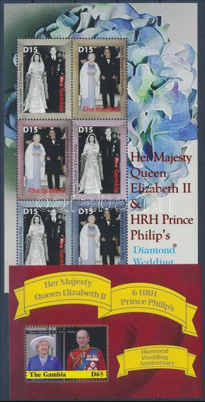 Queen Elizabeth II. mini sheet + block, II. Erzsébet királynő gyémántlakodalma kisív + blokk