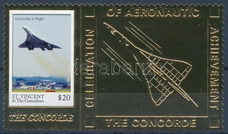 Concorde golden-foiled stamp, Concorde aranyfóliás bélyeg