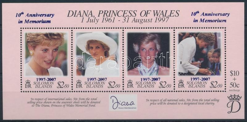 Diana hercegnő felülnyomott blokk, Princess Diana overprinted block
