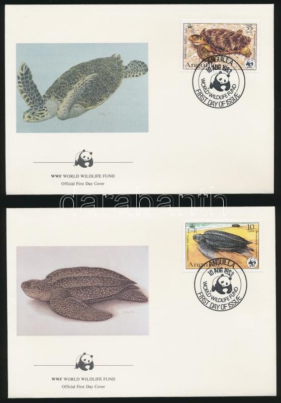 WWF Turtles  set on 4 FDC, WWF Teknősök sor 4 db FDC-n