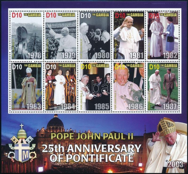 John Paul II. mini sheet set, II. János Pál 25 éve pápa kisívsor