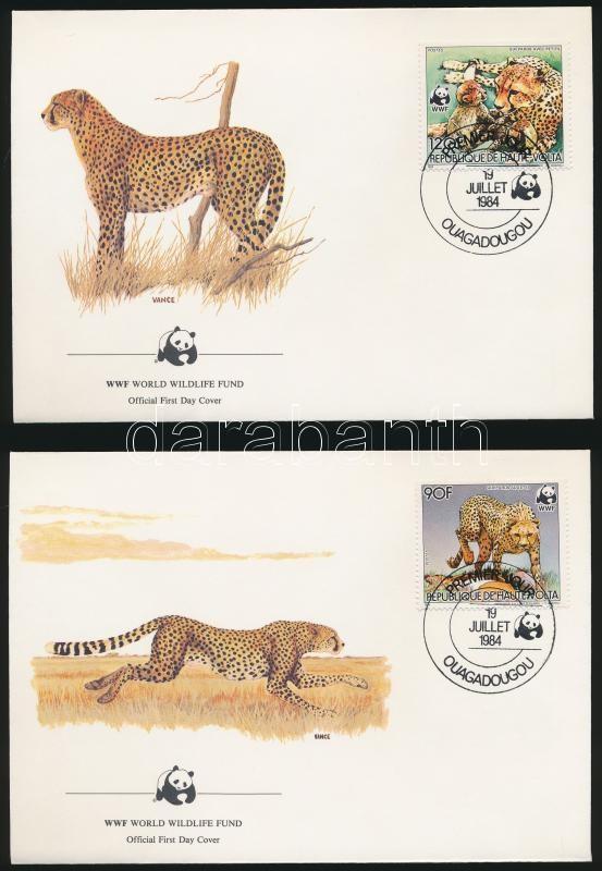 WWF Cheetah set on 4 FDC, WWF Gepárd sor 4 db FDC-n