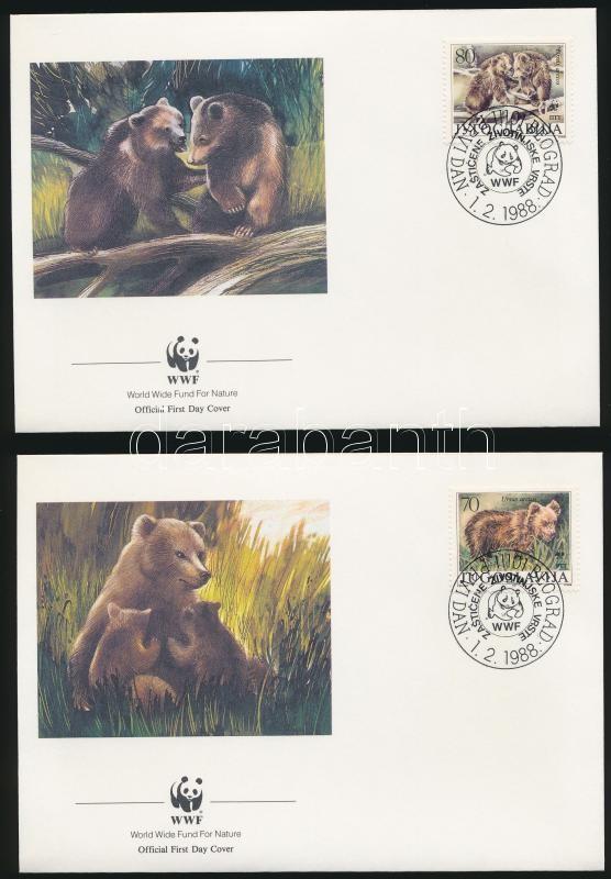 WWF Bear set 4 FDC, WWF: Barna medve sor 4 db FDC - n