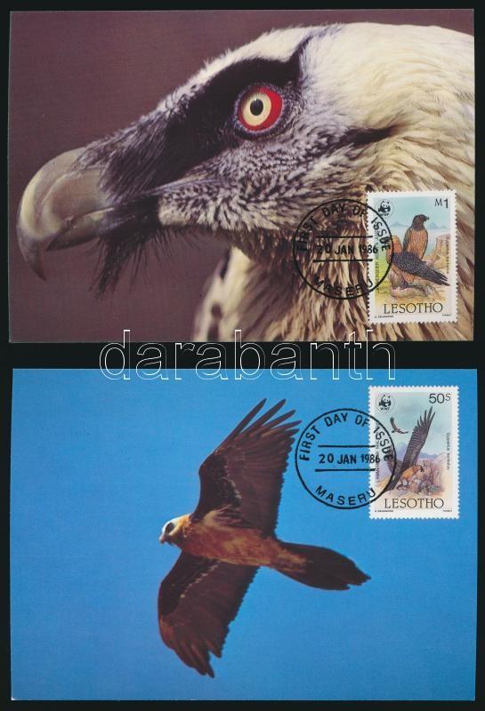 WWF: Bearded vulture set on 4 CM, WWF: Saskeselyű sor 4 db CM-en