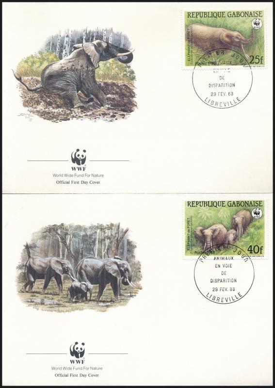 WWF Forest elephant set on 4 FDCs, WWF: Erdei elefánt sor 4 db FDC-n