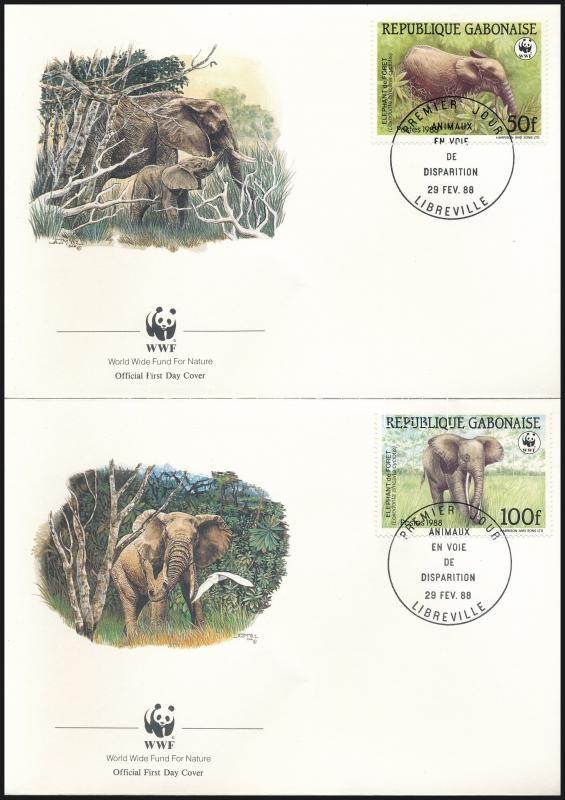 WWF Forest elephant set 4 FDC, WWF: Erdei elefánt sor 4 db FDC-n