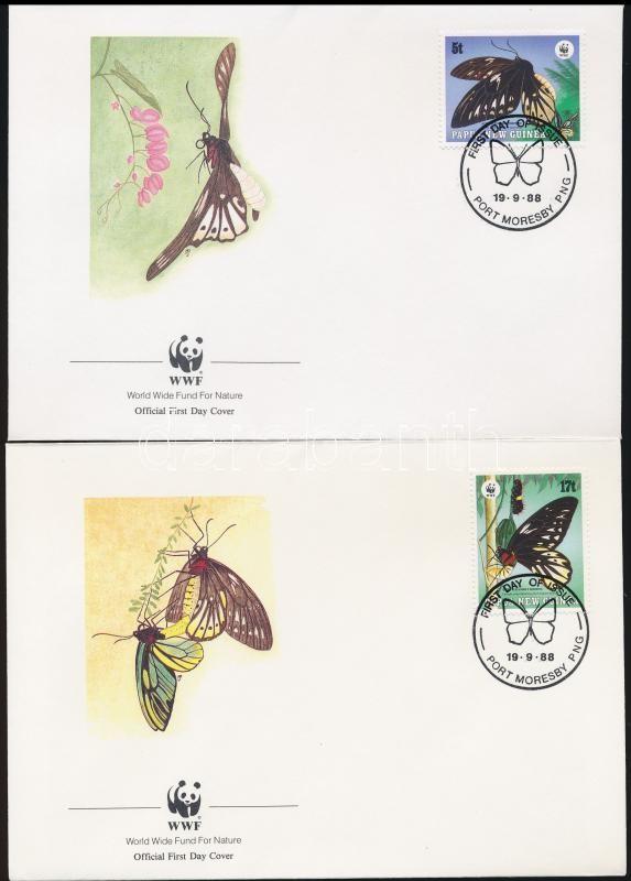 WWF: Butterfly set on 4 FDCs, WWF: Pillangó sor 4 db FDC-n