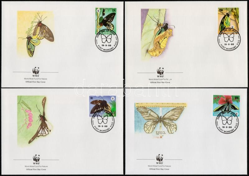 WWF: Butterfly set 4 FDC, WWF: Pillangó sor 4 db FDC-n