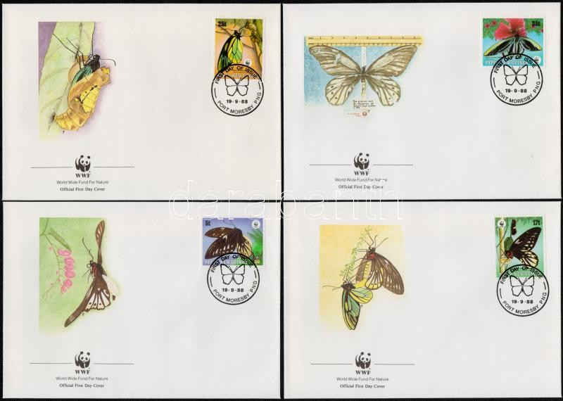 WWF: Butterfly set on 4 FDC-s, WWF: Pillangó sor 4 db FDC-n