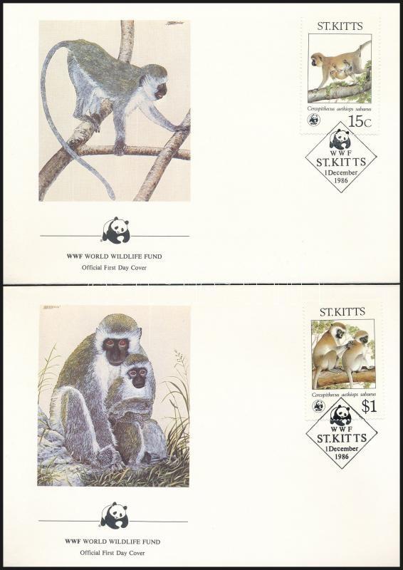 WWF: monkey set on 4 FDCs, WWF: Majom sor 4 db FDC-n