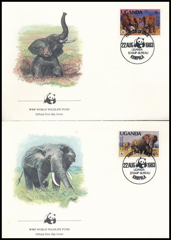WWF African elephant set on 4 FDC, WWF: Afrikai elefánt sor 4 db FDC-n