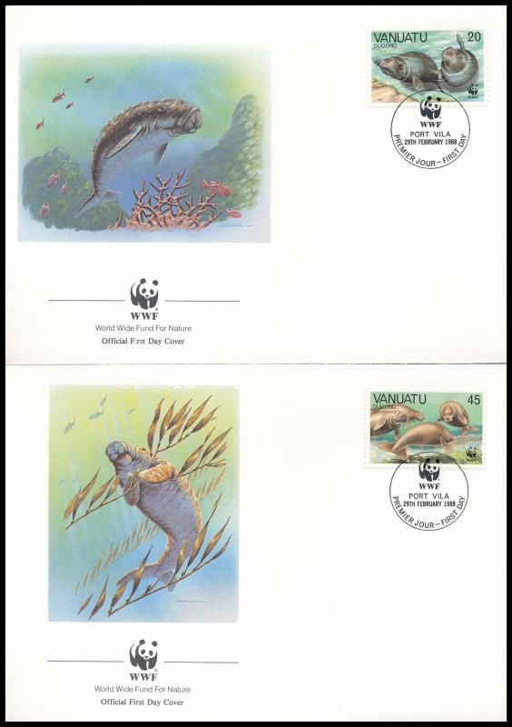WWF: Dugong set on 4 FDCs, WWF: Dugong sor 4 db FDC-n
