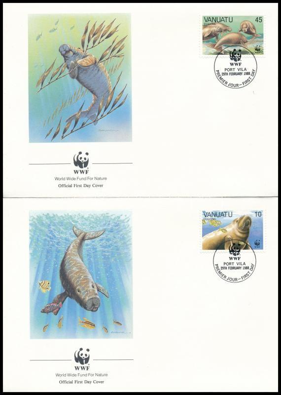 WWF Dugong set on 4 FDC-s, WWF: Dugong sor  4 db FDC-n