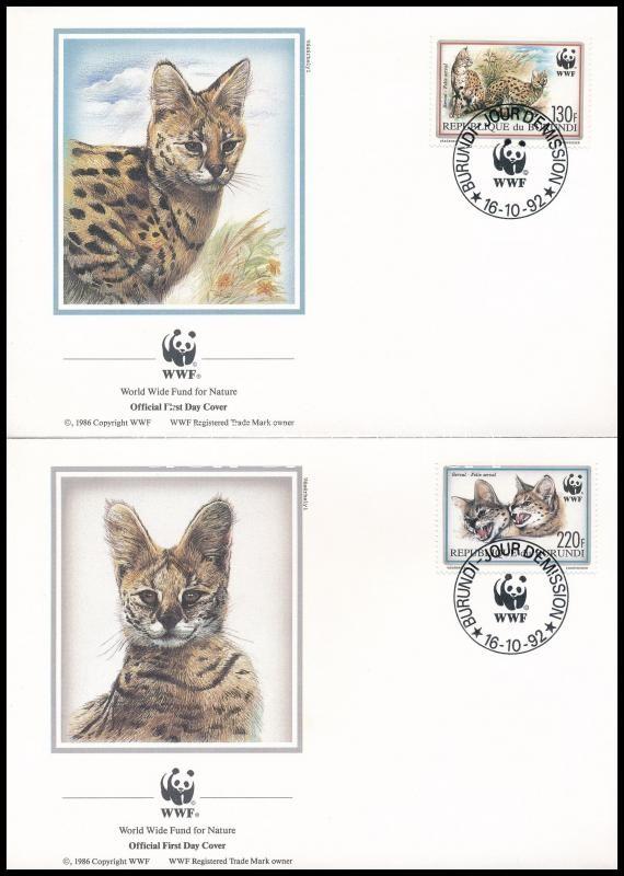 WWF: Serval set on 4 FDCs, WWF: Szervál sor 4 FDC-n