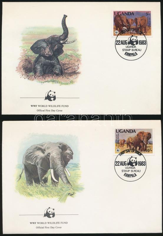 WWF: African elephant set on 4 FDC, WWF: Afrikai elefánt sor 4 db FDC-n