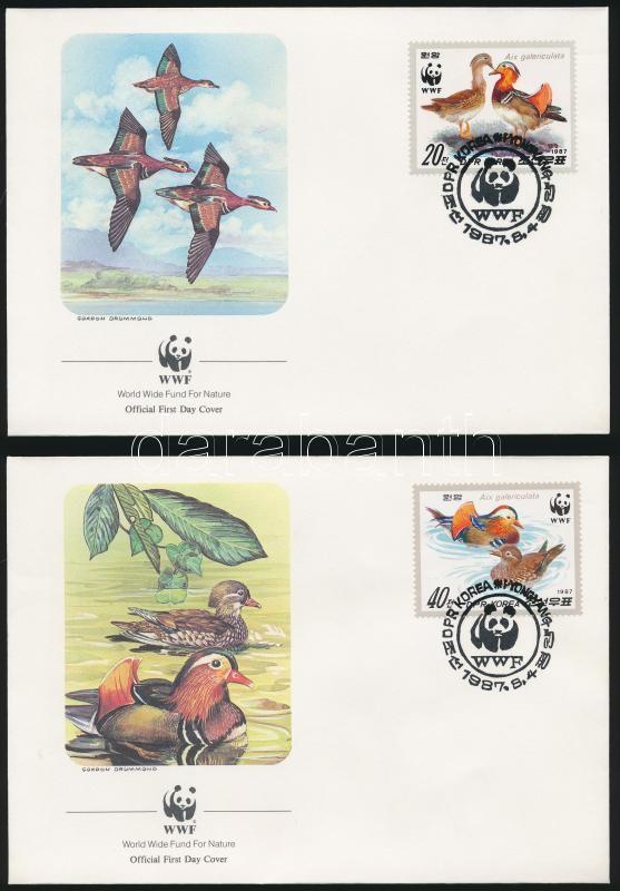 WWF Mandarinréce sor  4 FDC, WWF Mandarin duck set