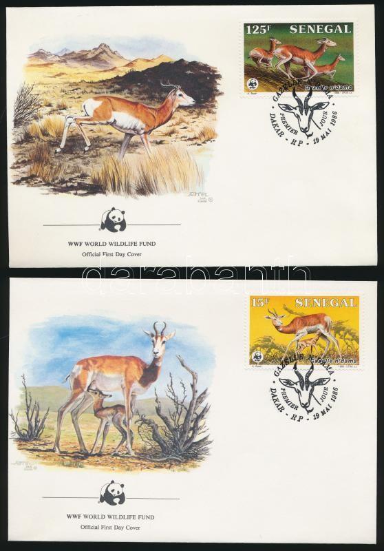 WWF: gazelle set on 4 FDC, WWF: Gazella sor  4 db FDC-n