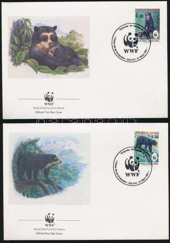 WWF: Bears set on 4 FDC, WWF: Medvék sor 4 db FDC-n
