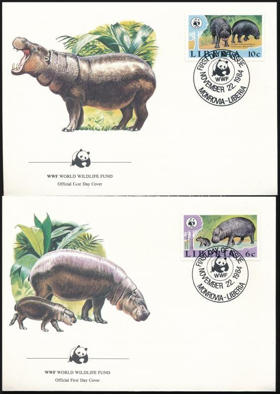 WWF: Pygmy hippopotamus set on 4 FDC, WWF: Törpe víziló sor 4 FDC-n