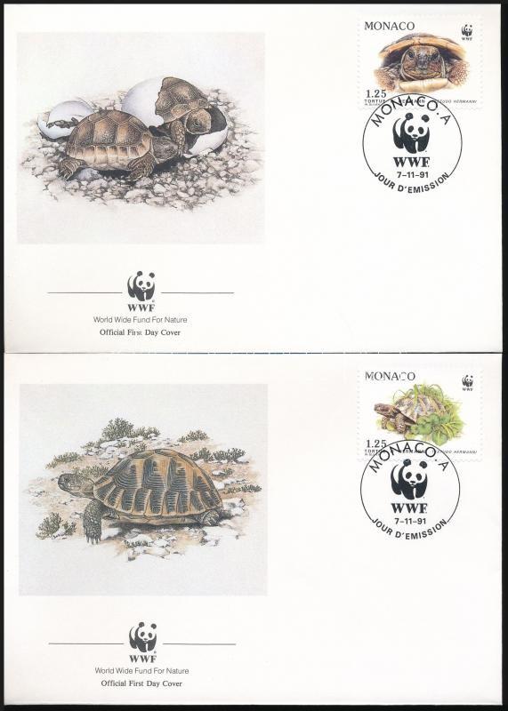 WWF Greek turtle set 4 FDC, WWF: Görög teknős sor 4 FDC-n