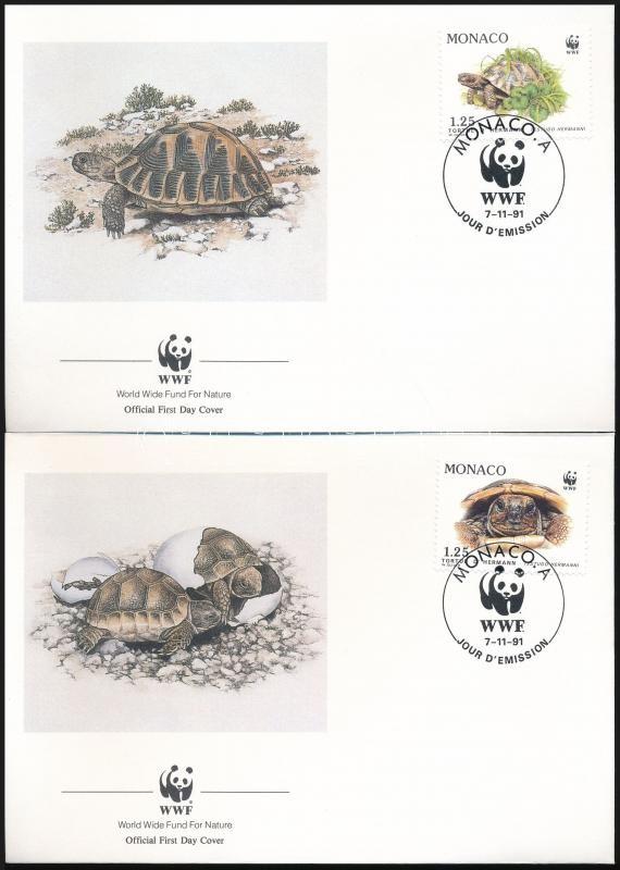 WWF: Hermann's tortoise set on 4 FDC, WWF: Görög teknős sor 4 FDC-n