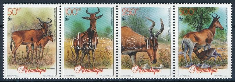 WWF: Antilop négyescsík + sor 4 FDC-n, WWF: Antelope stripe of 4 + set on 4 FDC