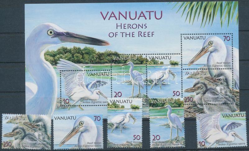Herons of the Reef set + block, Zátonykócsag sor + blokk