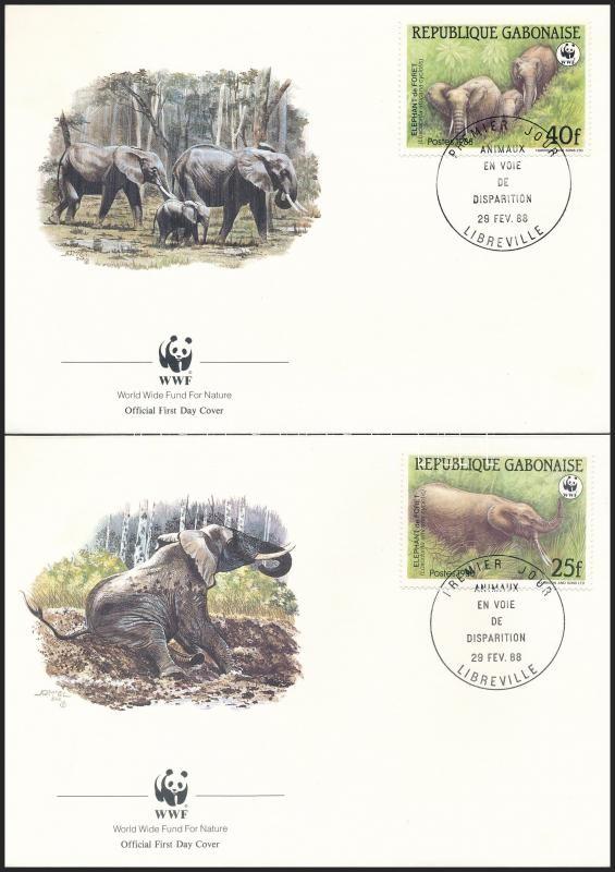 WWF Forest elephants set on 4 FDC, WWF: Erdei elefánt sor 4 db FDC-n