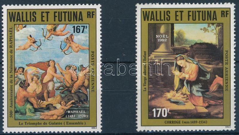Painting, Christmas 1982-1983 2 stamps, Festmény, Karácsony motívum 1982-1983 2 klf önálló érték
