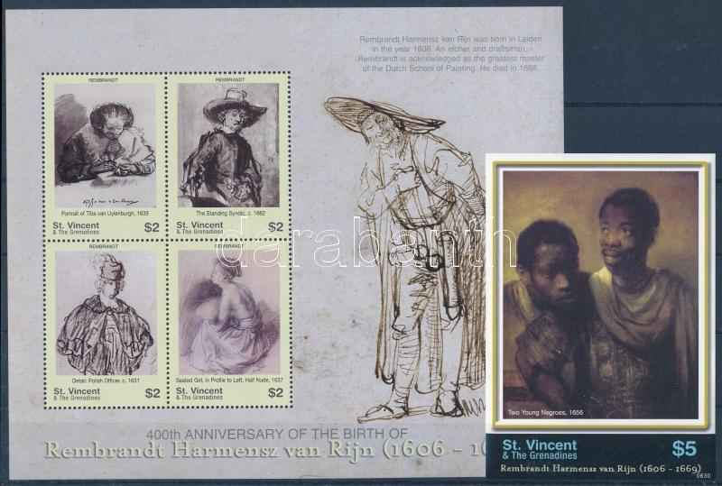 Rembrandt paintings minisheet + imperforated block, Rembrandt festmények kisív + vágott blokk