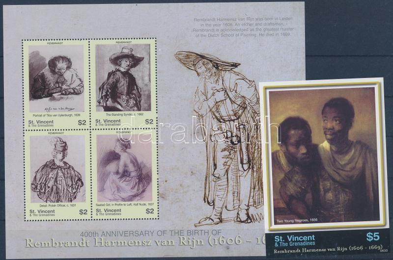 Rembrandt paintings mini sheet + imperforated block, Rembrandt festmények kisív + vágott blokk
