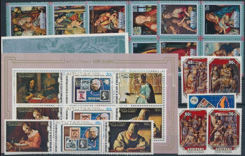 Painting motive 1973-1984 2 sets + 2 blocks + 1 stamp, Festmény motívum 1973-1984 2 klf sor + 2 klf blokk + 1 önálló érték