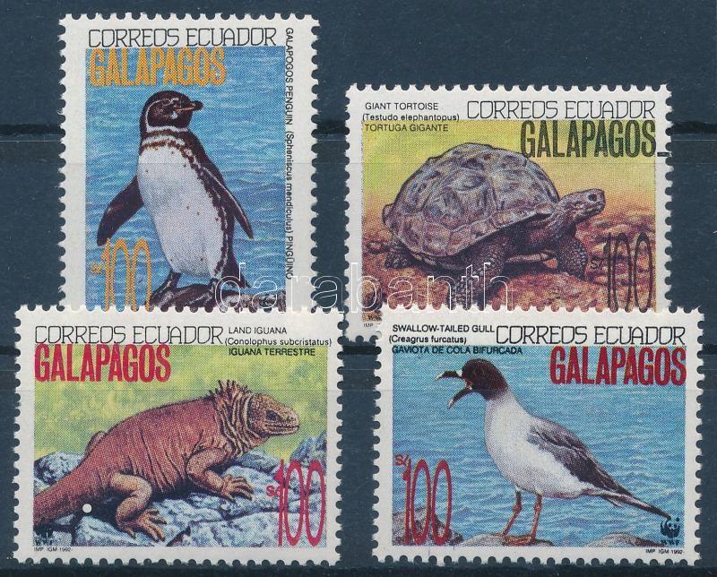 WWF Wildlife of the Galapagos Islands set WWF values + 4 on FDC, WWF: A Galápagos-szigetek élővilága sor 4 értéke + 4 db FDC