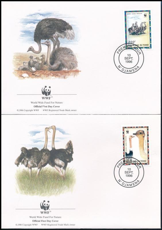 WWF North African ostrich set on 4 FDC, WWF: Észak-afrikai strucc sor 4 db FDC-n
