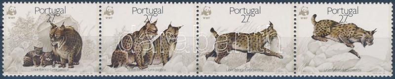 WWF Iberian lynx set stripe of 4, WWF: Ibériai hiúz sor négyescsíkban