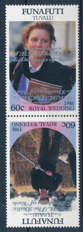 British royal wedding pair, (with double overprint), Királyi esküvő pár  egyik értéken fordított dupla felülnyomással